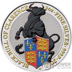 BLACK BULL Queen Beasts Coloured 2 Oz Серебро Монета 5£ Великобритания 2018