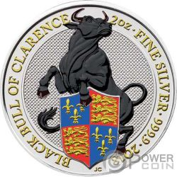 BLACK BULL Queen Beasts Coloured 2 Oz Silver Coin 5£ United Kingdom 2018