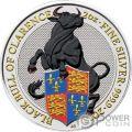 BLACK BULL Schwarzer Bulle Queen Beasts Farbig 2 Oz Silber Münze 5£ United Kingdom 2018