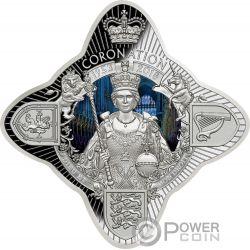 QUEEN ELIZABETH II CORONATION 65th Anniversary Star Shaped 1 Oz Серебро Монета 1$ Токелау 2018