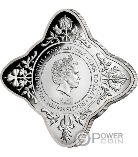 QUEEN ELIZABETH II CORONATION 65th Anniversary Star Shaped 1 Oz Silver Coin 1$ Tokelau 2018