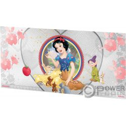 SNOW WHITE Disney Princess Foil Silver Note 1$ Niue 2018
