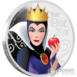 EVIL QUEEN Snow White Seven Dwarfs Disney Villains 1 Oz Silver Coin 2$ Niue 2018
