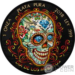 DIA DE LOS MUERTOS Day of the Dead Libertad 1 Oz Silver Coin Mexico 2018