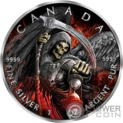 GRIM REAPER Morte Maple Leaf Armageddon II 1 Oz Moneta Argento 5$ Canada 2017