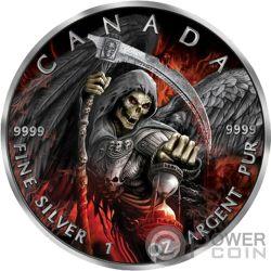 GRIM REAPER Muerte Maple Leaf Armageddon II 1 Oz Moneda Plata 5$ Canada 2017