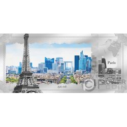 PARIS Parigi Skyline Dollars Foil Banconota Argento 1$ Cook Islands 2018