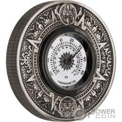 THERMOMETER Termometro Calendario Azteca 2 Oz Moneda Plata 2$ Tuvalu 2018