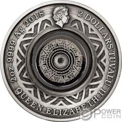 THERMOMETER Aztec Calendar 2 Oz Silver Coin 2$ Tuvalu 2018