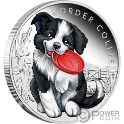 BORDER COLLIE Dog Puppies Silver Coin 50 Cents Tuvalu 2018