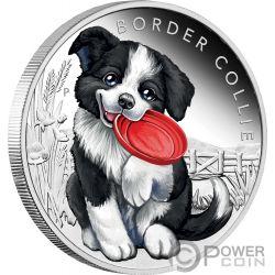 BORDER COLLIE Perro Puppies Moneda Plata 50 Centavos Tuvalu 2018