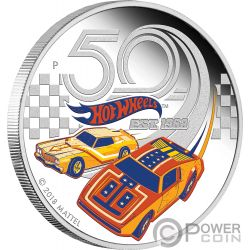 HOT WHEELS 50 Anniversario 1 Oz Moneta Argento 1$ Tuvalu 2018