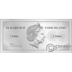 SAN FRANCISCO Skyline Dollars Foil Silver Note 1$ Cook Islands 2018