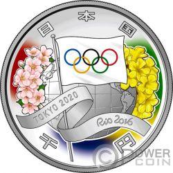 TOKYO OLYMPIC GAMES 2020 Juegos Olimpicos 1 Oz Moneda Plata 1000 Yen Japan 2016