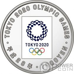 TOKYO OLYMPIC GAMES 2020 1 Oz Silver Coin 1000 Yen Japan Mint 2016