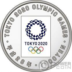 TOKYO OLYMPIC GAMES 2020 Giochi Olimpici 1 Oz Moneta Argento 1000 Yen Japan Mint 2016