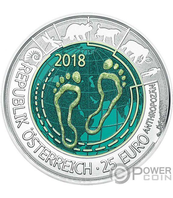 ANTHROPOCENE Niobium Bimetallic Silver Coin 25€ Euro Austria 2018