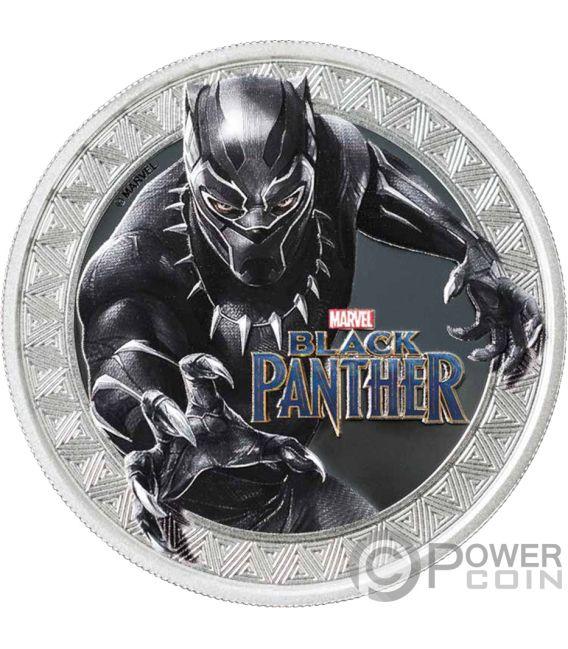 BLACK PANTHER Marvel 1 Oz Moneta Argento 1$ Tuvalu 2018