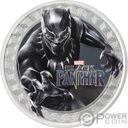 BLACK PANTHER Marvel 1 Oz Moneda Plata 1$ Tuvalu 2018
