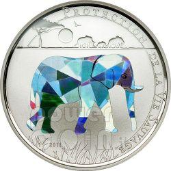 ELEPHANT Wildlife Protection Серебро Монета Prism 1000 Франков Того 2011