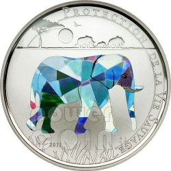 ELEPHANT Wildlife Protection Silver Coin Prism 1000 Francs Togo 2011