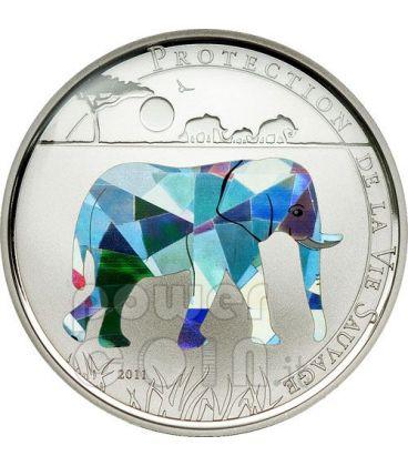ELEFANTE Wildlife Protection Moneta Argento Prisma 1000 Franchi Togo 2011