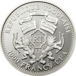 ELEPHANT Wildlife Protection Moneda Plata Prism 1000 Francs Togo 2011