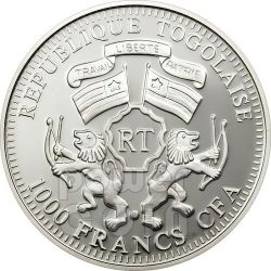 ELEPHANT Wildlife Protection Silber Münze Prism 1000 Francs Togo 2011