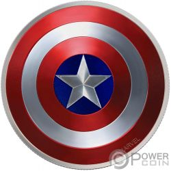 CAPTAIN AMERICA SHIELD 75 Aniversario Escudo Marvel 2 Oz Moneda Plata 2$ Fiji 2016