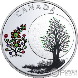 FLOWER MOON Teachings From Grandmother Silver Coin 3$ Canada 2018