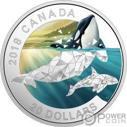 ORCAS Schwertwal Geometric Fauna 1 Oz Silber Münze 20$ Canada 2018