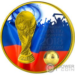 FIFA WORLD CUP Coppa del Mondo Fan Blu 1 Oz Moneta Argento 3 Rubli Russia 2018