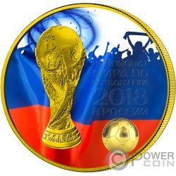 FIFA WORLD CUP Weltmeisterschaft Blaue Fans 1 Oz Silber Münze 3 Rubles Russia 2018