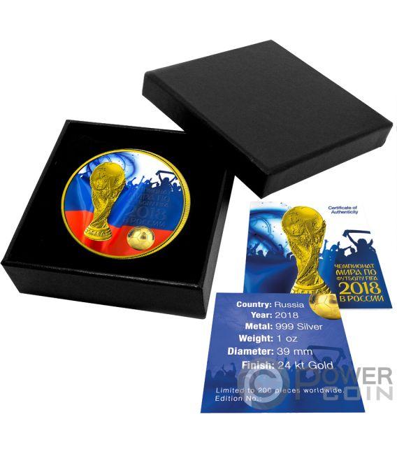 FIFA WORLD CUP Copa del Mundo Fan Azules 1 Oz Moneda Plata 3 Rublos Russia 2018