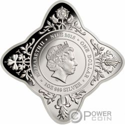 ROYAL WEDDING Star Shaped 1 Oz Silver Coin 1$ Niue 2018