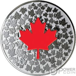 HEARTS AGLOW Maple Leaf Glow In The Dark Silver Coin 5$ Canada 2018