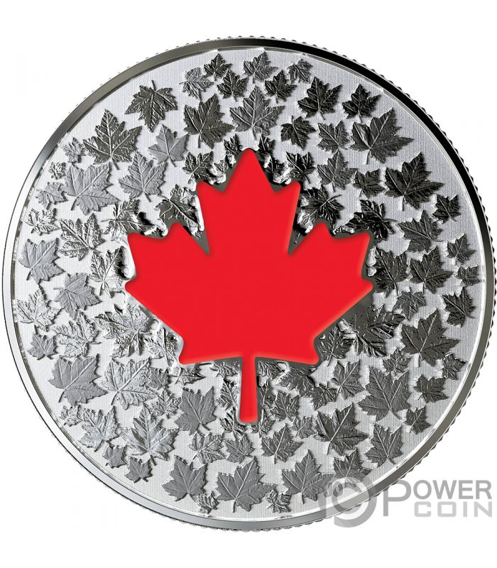 Hearts Aglow Maple Leaf Glow In The Dark Silver Coin 5