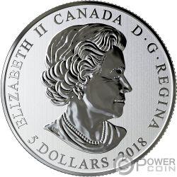 HEARTS AGLOW Hoja Arce Glow In The Dark Moneda Plata 5$ Canada 2018