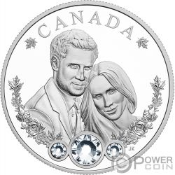 ROYAL WEDDING Matrimonio Reale Harry Meghan 1 Oz Moneta Argento 20$ Canada 2018