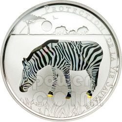 ZEBRA Wildlife Protection Moneta Argento Prisma 1000 Franchi Togo 2011