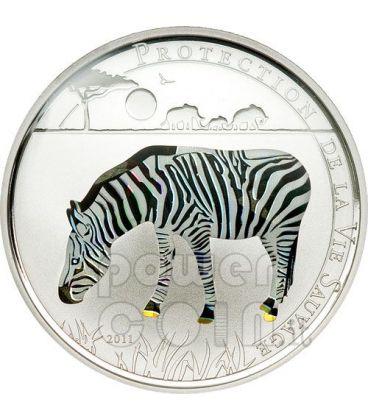 ZEBRA Wildlife Protection Moneta Argento Prisma 1000 Franchi Togo 2011