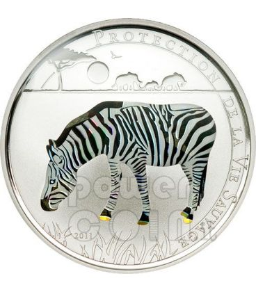 ZEBRA Wildlife Protection Silver Coin Prism 1000 Francs Togo 2011