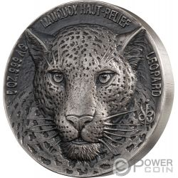 LEOPARD Leopardo Big Five Mauquoy 5 Oz Moneda Plata 5000 Francos Ivory Coast 2018