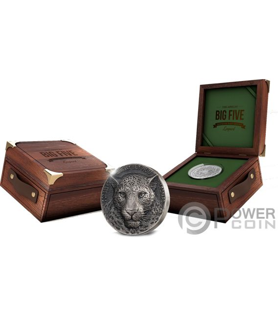 LEOPARD Big Five Mauquoy 5 Oz Silver Coin 5000 Francs Ivory Coast 2018
