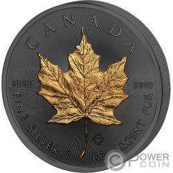 MAPLE LEAF Hoja Arce 30 Aniversario Golden Enigma 1 Oz Moneda Plata 5$ Canada 2018
