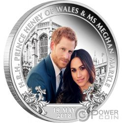 ROYAL WEDDING Boda Real Harry Meghan 1 Oz Moneda Plata 1$ Australia 2018