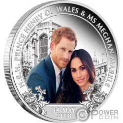 ROYAL WEDDING Matrimonio Reale Harry Meghan 1 Oz Moneta Argento 1$ Australia 2018