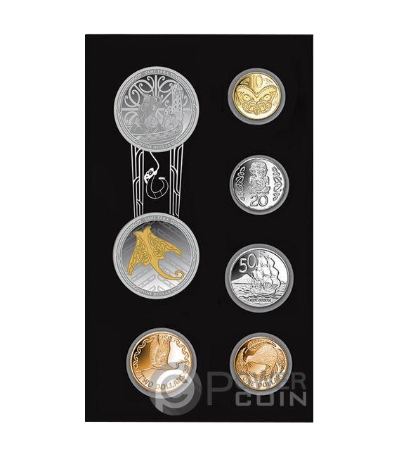 MAUI AND THE FISH Te Ika Maui Set Серебро Монеты 1$ Новая Зеландия  2018