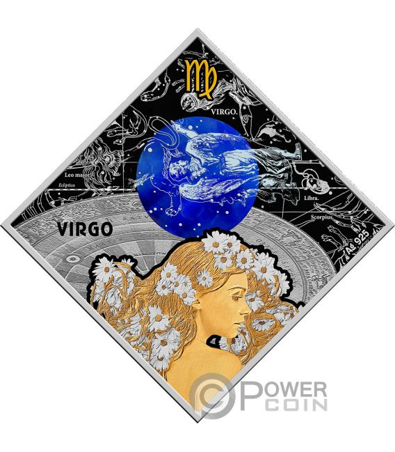 VIRGO Vergine Zodiac Signs Moneta Argento 100 Denars Macedonia 2018