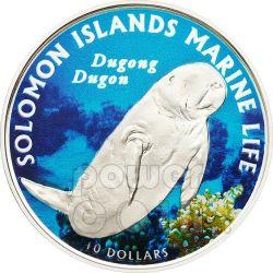 DUGONG DUGON Marine Life Silber Münze 10$ Solomon Islands 2011